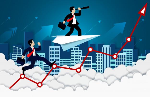 competicao do homem de negocios em um vermelho da seta para o ceu ir para o sucesso de metas e negocios financeiros 82984 177 - Como Ter Mais Foco 5 Dicas Para Ajudar a Realizar Seus Objetivos