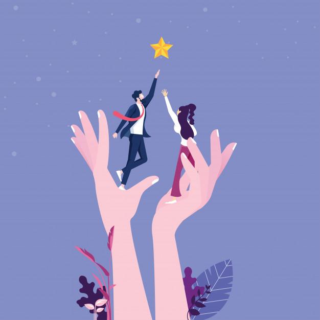 uma mao gigante ajudando os empresarios a alcancar as estrelas 70921 472 - Como Ter Mais Foco 5 Dicas Para Ajudar a Realizar Seus Objetivos